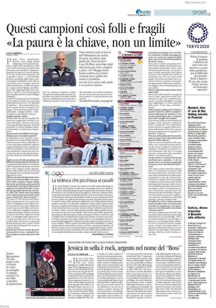 """Testata giornalista """"Avvenire"""" articolo del 08/08/2021"""